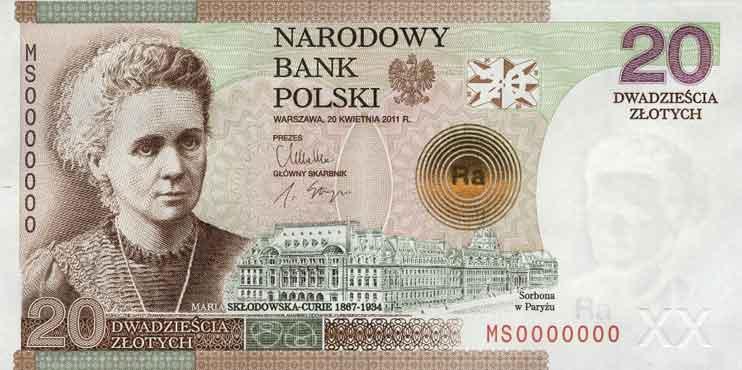 Banknot o nominale 20 zł